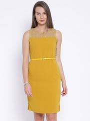 Park Avenue Woman Mustard Yellow Sheath Dress