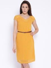 Park Avenue Woman Mustard Yellow Polka Dot Print Sheath Dress