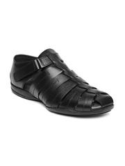 Estd. 1977 Men Black Leather Sandals