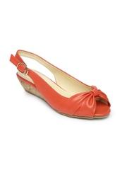 Lavie Women Coral Red Peep-Toed Wedges