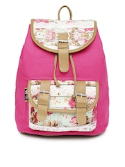 Kanvas Katha Women Pink Floral Print Backpack