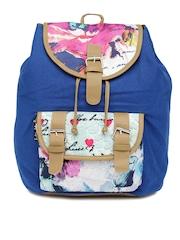 Kanvas Katha Women Blue Floral Print Backpack