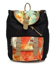 Kanvas Katha Women Black Printed Backpack
