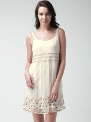 FOREVER 21 Cream-Coloured Net Embellished A-Line Dress