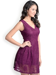 499 Burgundy Lace Fit & Flare Dress