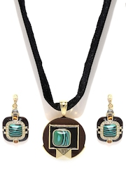MONA SHROFF 18K Gold-Plated & Black Jewellery Set