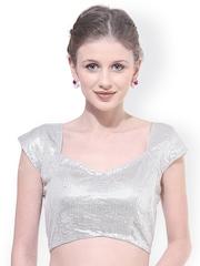 La Firangi Silver-Toned Sequinned Saree Blouse