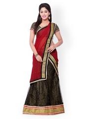 Vogue Era Black & Red Embroidered Brocade & Net Semi-Stitched Lehenga Choli with Dupatta