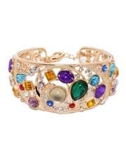 MONA SHROFF 18K Gold-Plated Cuff Bracelet with CZ & Swarovski Stones