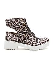Qupid Women Beige & Black Animal Print Heeled Shoes