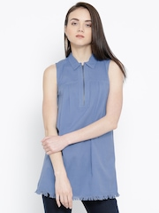 Vero Moda Blue Fringed Hem Tunic