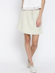 Vero Moda Off-White Cut-Out Mini Skirt
