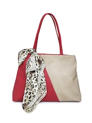 Cappuccino Red & Beige Colourblock Shoulder Bag with Scarf
