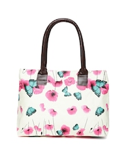 Cappuccino Cream-Coloured Floral Print Shoulder Bag