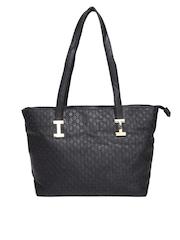 Cappuccino Black Textured Shoulder Bag