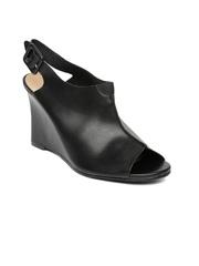 Allen Solly Women Black Peep-Toed Wedges