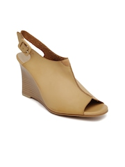 Allen Solly Women Tan Brown Peep-Toed Wedges