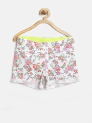 United Colors of Benetton Girls White Floral Print Shorts