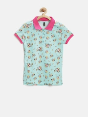 United Colors of Benetton Girls Blue Floral Print Polo T-shirt