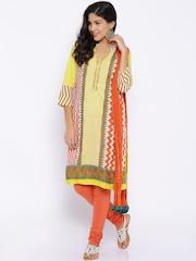 BIBA Yellow & Orange Printed Churidar Kurta with Dupatta