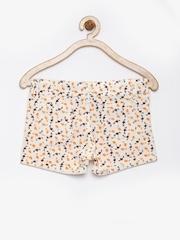 Dreamszone Girls Off-White & Orange Floral Print Shorts