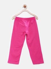 Dreamszone Girls Pink Cotton Stretch 3/4th Leggings