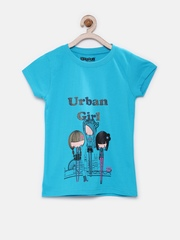Dreamszone Girls Blue Printed T-shirt