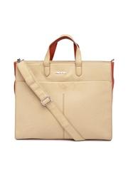 KIARA Beige & Rust Orange Oversized Handbag