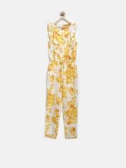 Allen Solly Junior Girls White Floral Print Jumpsuit