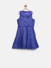 Allen Solly Junior Girls Blue Lace Fit & Flare Dress
