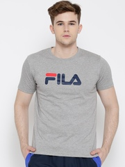 FILA Grey Melange Eagle Logo Print T-shirt
