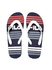 FILA Men White & Navy Printed Flip-Flops