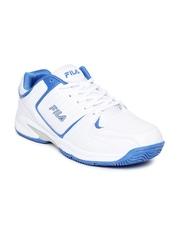 FILA Men White & Blue Backhand Tennis Shoes