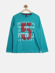 United Colors of Benetton Girls Teal Blue Printed Embroidered T-shirt