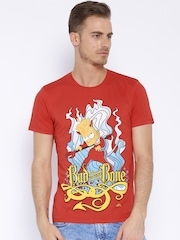 Simpsons Red Printed T-shirt
