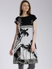 W Grey & Black Tropical Print Kurta