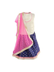 A Little Fable Girls Navy and White Lehenga Choli with Dupatta