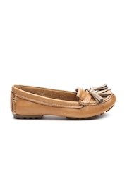 Clarks Women Tan Brown Tassel Leather Loafers