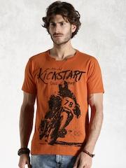Roadster Orange Printed T-shirt