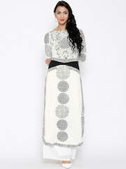 Ira Soleil Off-White Knitted Printed Kurta