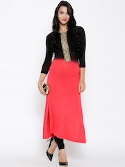 Ira Soleil Coral Red Polyester Dyed Knitted Kurta