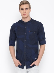 Status Quo Navy Geometric Print Slim Casual Shirt