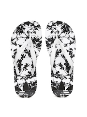 Adidas Originals Women White & Black ADISUN Printed Flip-Flops