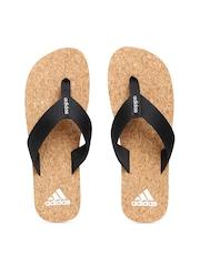Adidas Men Black & Brown Merino Flip-Flops