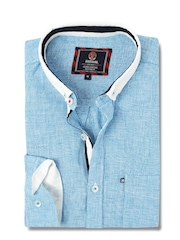 HARVARD Blue & White Linen Casual Shirt