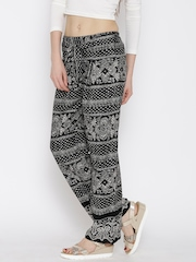 Hotberries Black & White Printed Polyester Palazzo Trousers