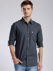 French Connection Charcoal Grey Printed Casual Shirt