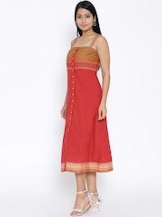 BIBA Red Midi Shift Dress