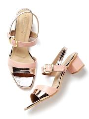 DressBerry Women Pink & Muted Gold-Toned Heels