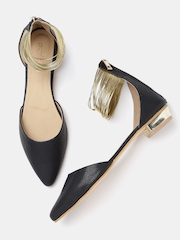 DressBerry Women Black & Gold-Toned Flat Shoes